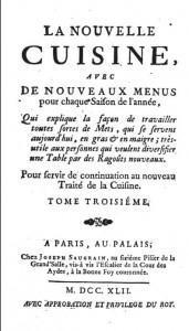 メノン『ヌーベルキュイジーヌ』 (1742)