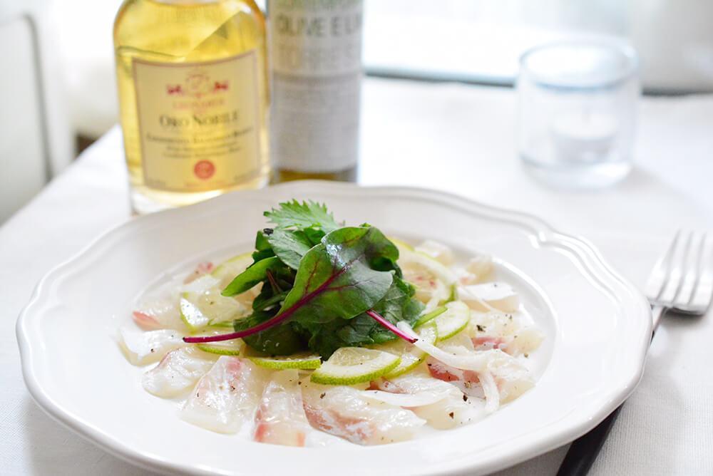 ホワイトバルサミコ酢の鯛のカルパッチョ