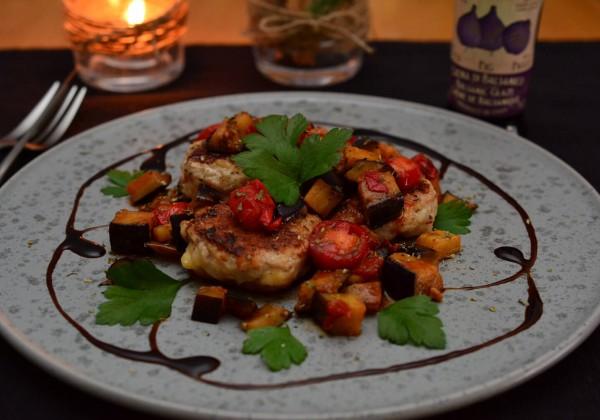 鶏肉のポルペッティ 茄子とトマトのバルサミコ酢ソース