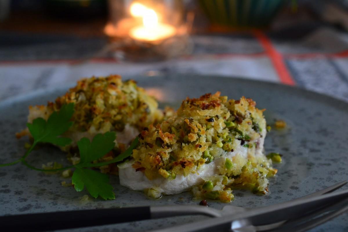 メカジキのピスタチオ香草パン粉焼き