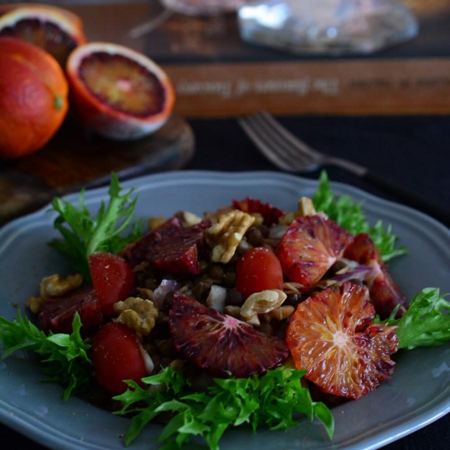 ロヴェイア豆とブラッドオレンジのサラダ