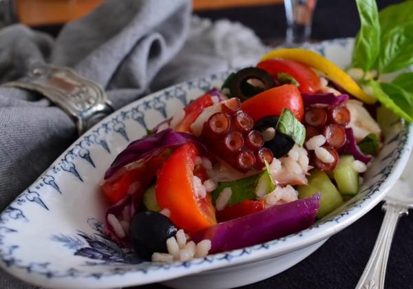 タコと夏野菜のライスサラダ