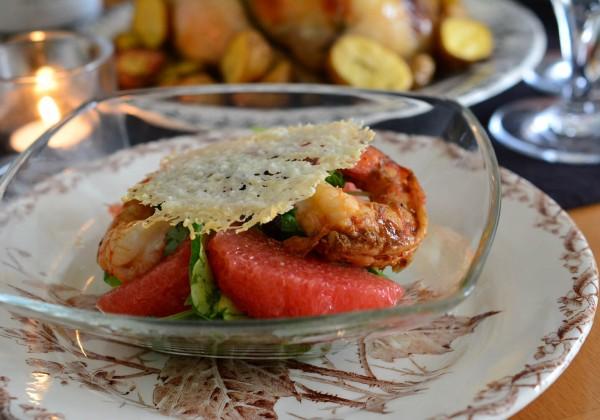 グレープフルーツと海老のサラダ